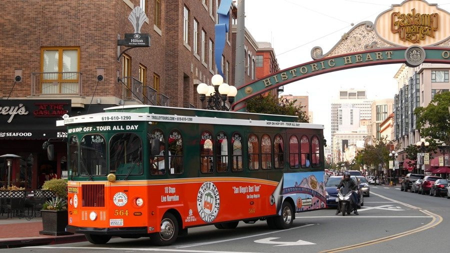 View of a San Diego Trolley on the busy street