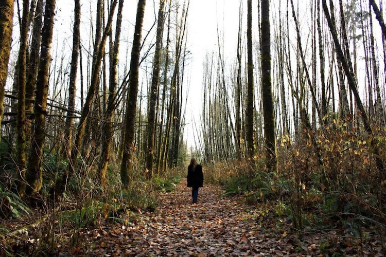 Taylor hikes in Tsolum Spirit Regional Park, Vancouver Island