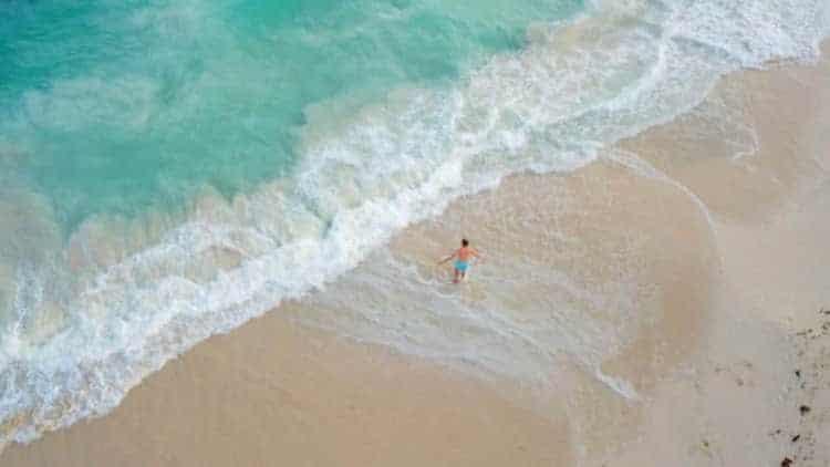 A drone shot of a beach in Tulum, Riviera Maya