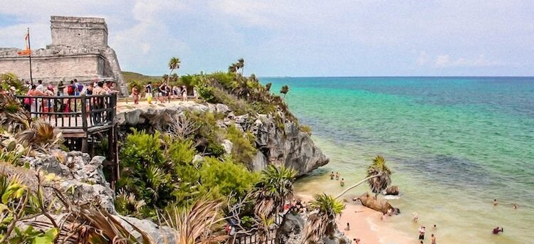 View of the Tulum Mayan Ruins
