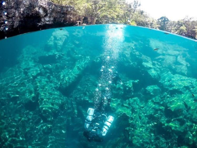 A scuba diver dives straight down into a cenote near Tulum, Mexico
