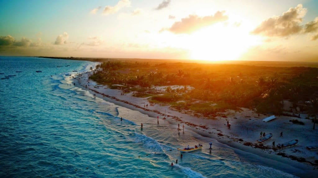 Aerial view of Tulum at sunset