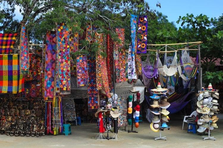 Mexican souveniers in an open air shop in Tulum Mexico