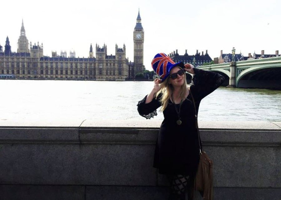 View of the author wearing a hat with a UK flag design