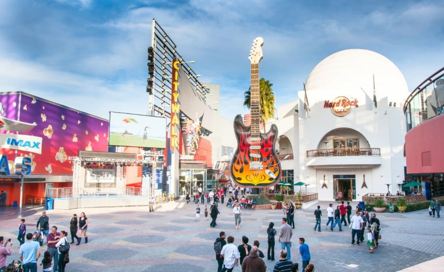 View of people and buildings at Universal CityWalk