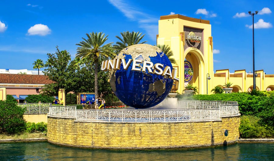 View of the Universal world sphere  in CityWalk