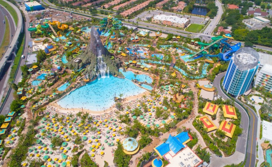 Aerial view of Universal's Volcano Bay