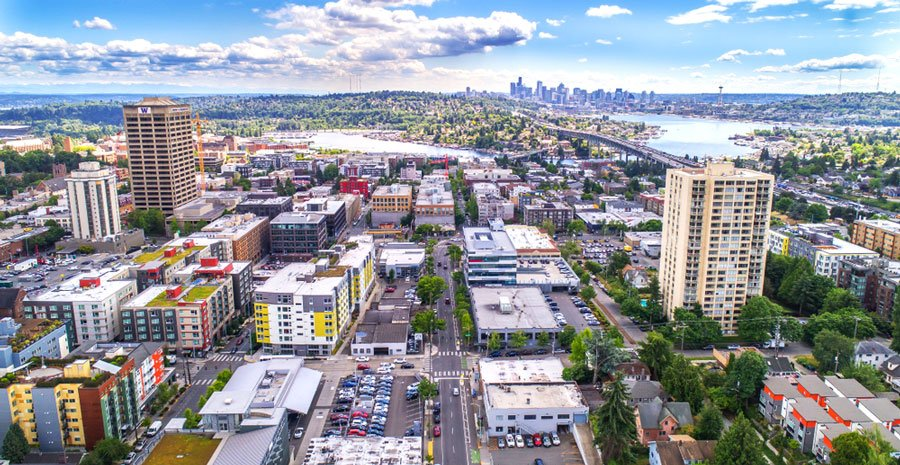 Aerial view of U-District in Seattle