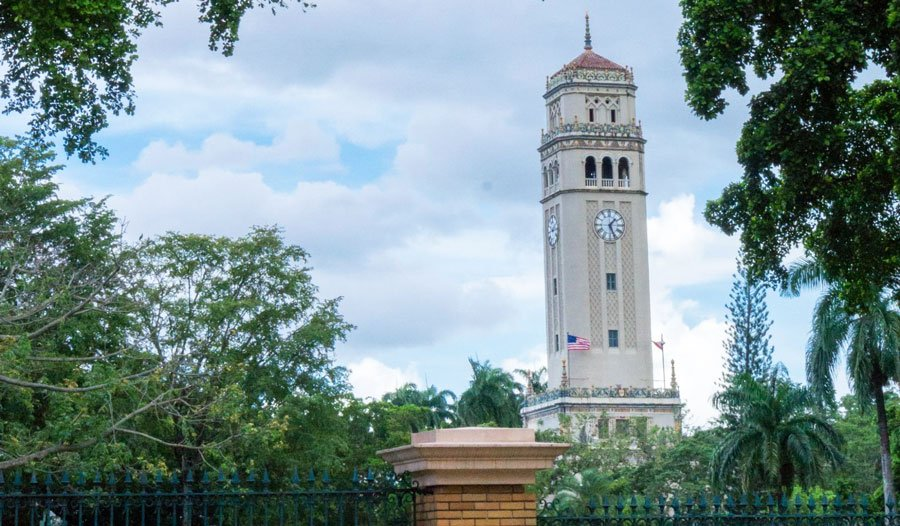 View of the clocktower in University of Puerto Rico
