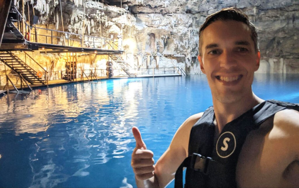 The founder of Travel Lemming in Cenote Chukum near Valladolid
