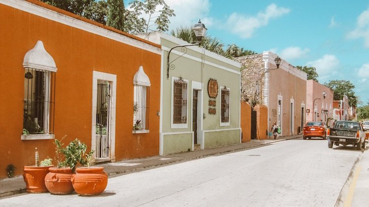 Colorful buildings line the streets of Valladolid, Mexico