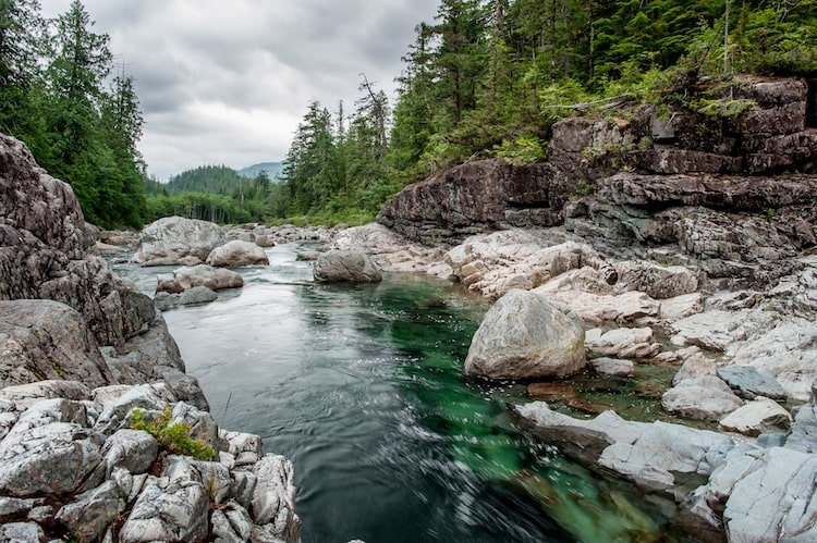A river runs through Sproat Lake provincial park in Vancouver Island