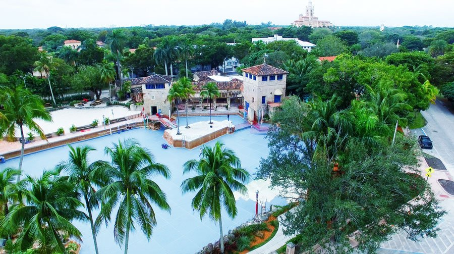 Aerial view of Venetian Pool in Coral Gables and different trees that surrounds it
