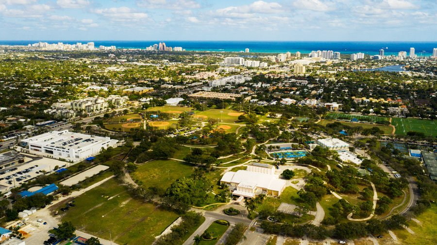 Aerial view of a park in  Fort Lauderdale
