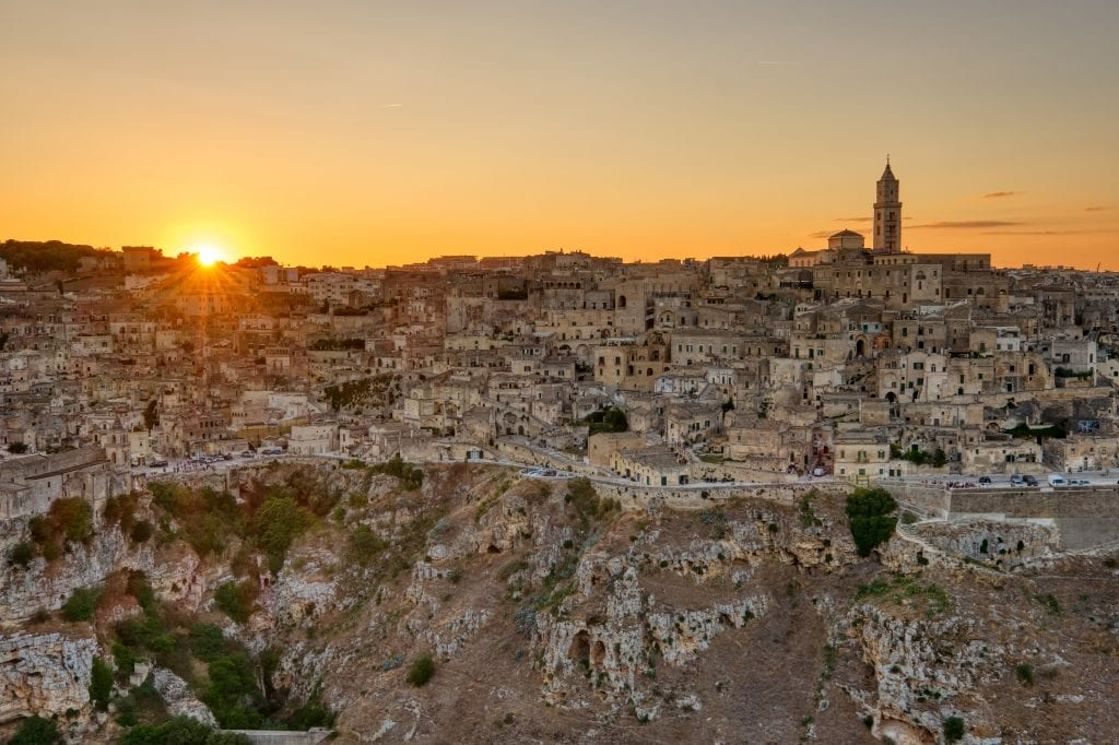 View of the beautiful old town of Matera in southern Italy at sunset