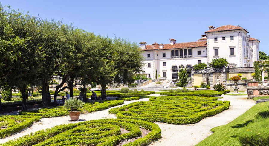 View of the Vizcaya Museum and Gardens from the outside