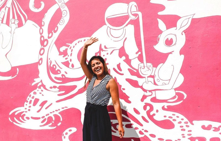 View of the author's wife and a pink and white wall art on her background