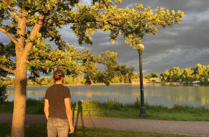 The author looking out over Washington Park in Denver