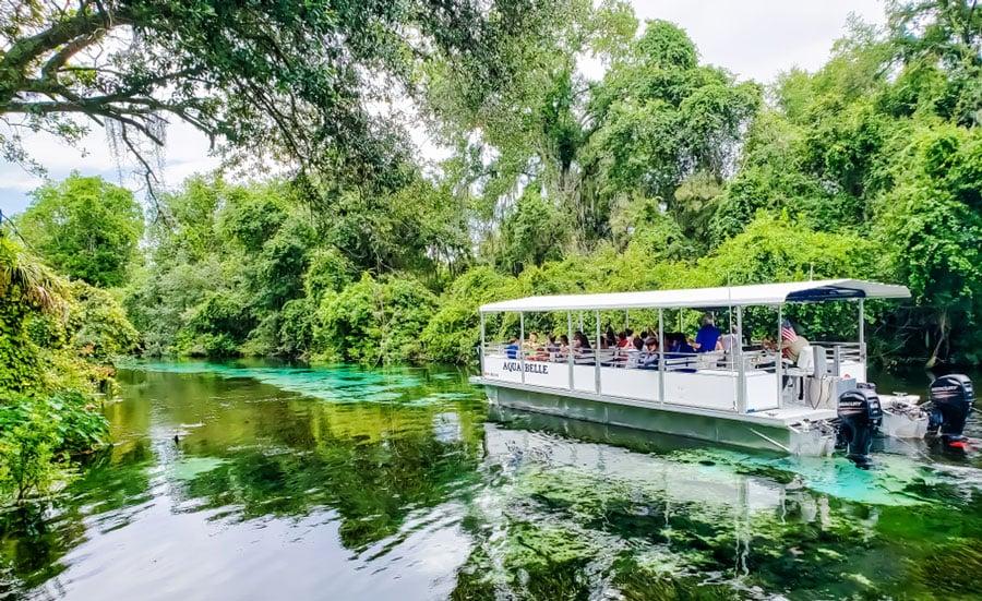 View of tourist having a boat ride in Weeki Wachee