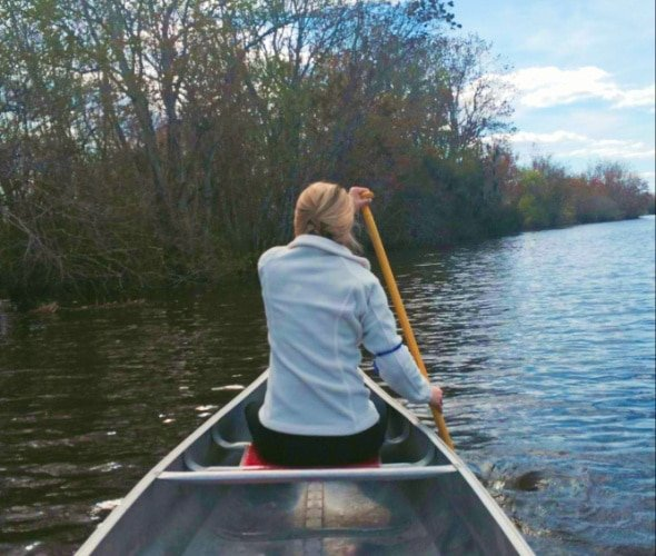 The author in a canoe near Wekiva Island FL