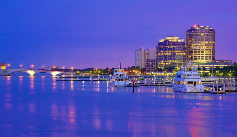 The West Palm Beach skyline at night time