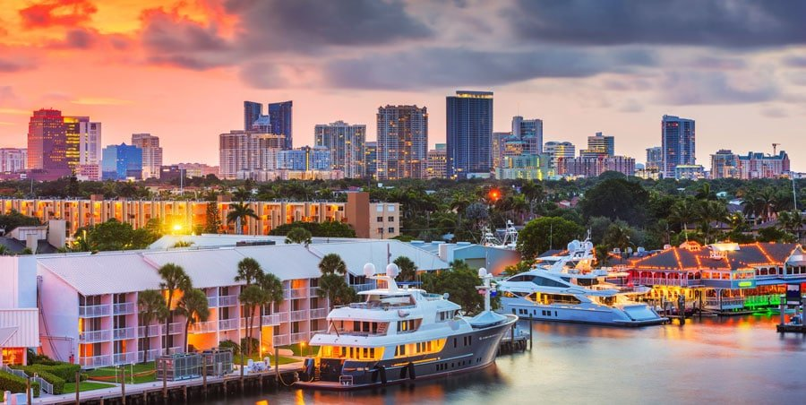 View of a colorful skyline in Fort Lauderdale