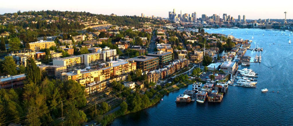 Aerial view of Eastlake and Downtown Seattle