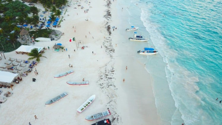Drone shot of north Tulum beaches