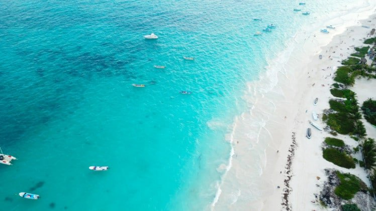 Drone shot of the Tulum beach