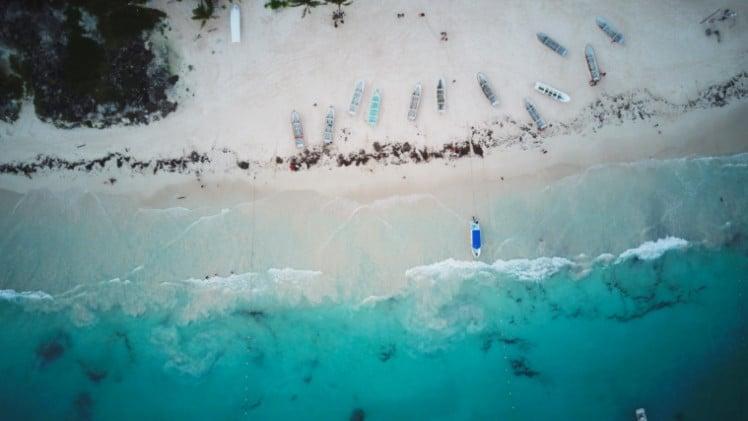 Drone shot of Playa Paraiso in Tulum