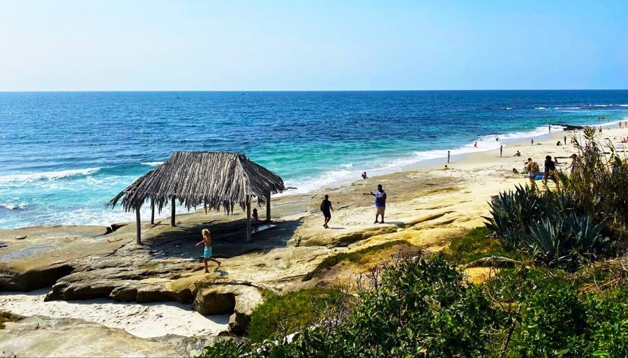 View of people enjoying the Windansea Beach