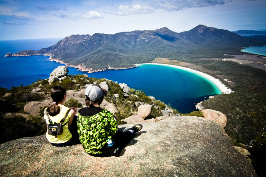 Views of Wineglass Bay in Tasmania