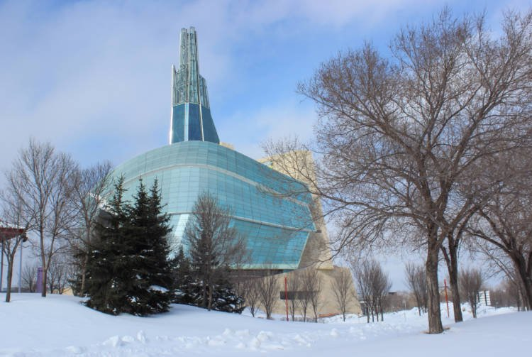 View of the Canadian Museum of Human Rights in winter with snow