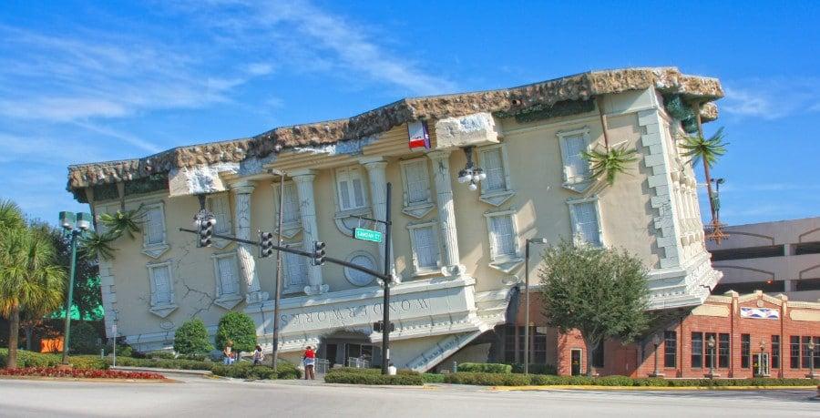 View of exterior of WonderWorks upside down building in Orlando