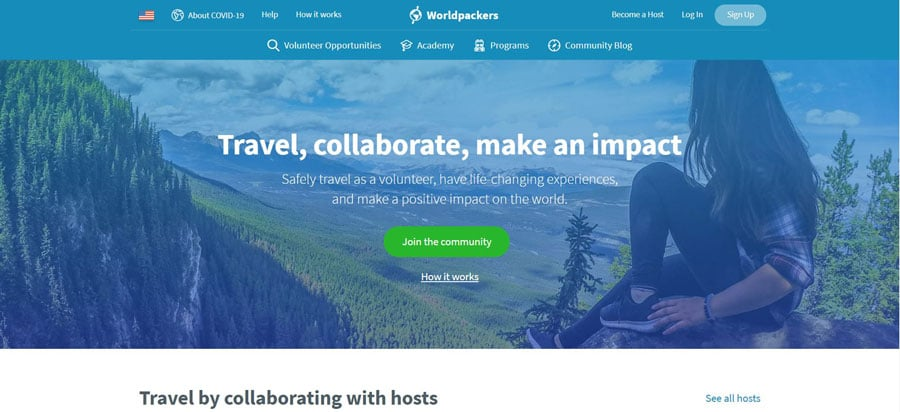 View of the Worldpackers Homepage