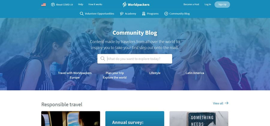 View of the Community Blog page of Worldpackers