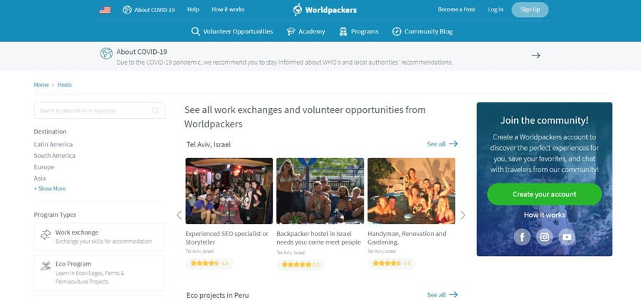 View of the Worldpackers Volunteer Positions page