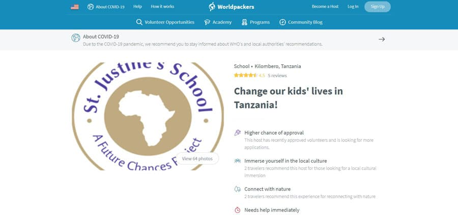 View of School volunteering section in Worldpackers website