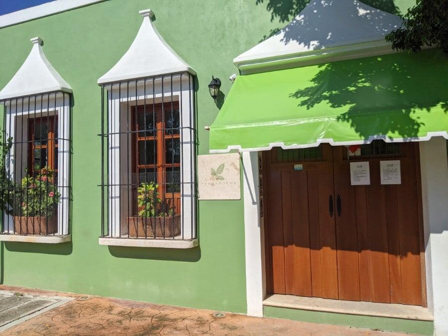 Outside of the Green Yerbabuena del Sisal restaurant