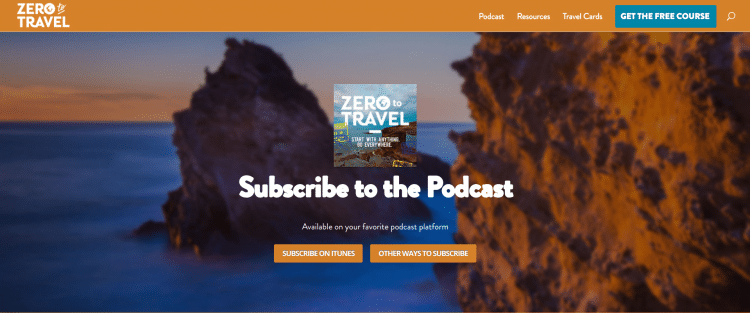 Zero to Travel Podcast website landing page