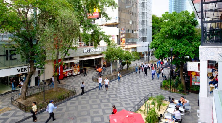 View of visitors walking in the Zona Rosa area of Mexico City