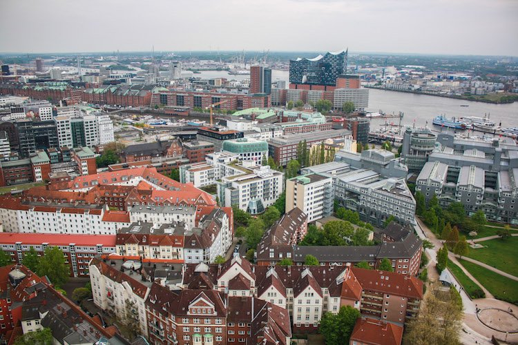 The city of Hamburg, Germany from a high vantage point