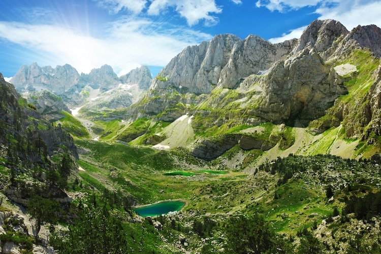 A sweeping landscape of lush greenery in Albania, the Balkans