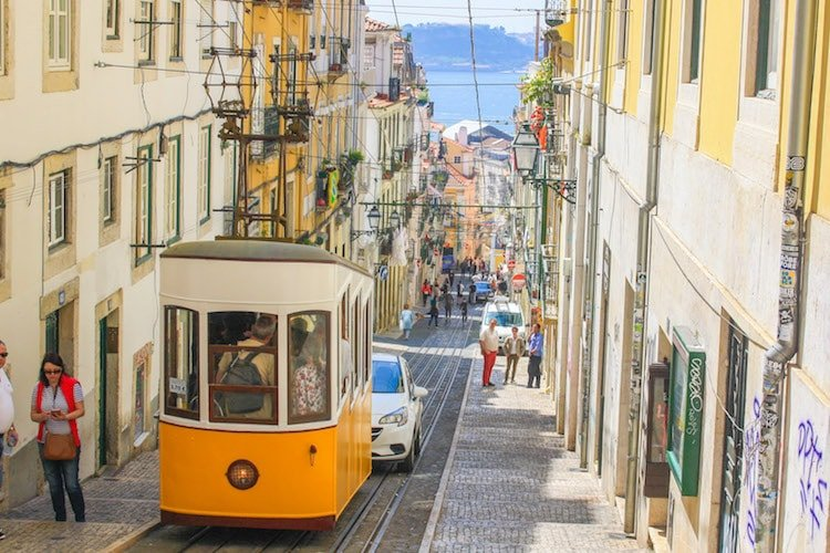 Image of a yellow streetcar in Lisbon, Portugal