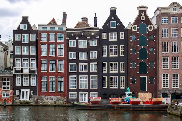 Rows of lopsided houses in Amsterdam, Netherlands.