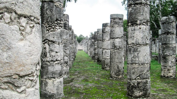 Temple of the Jaguars at Chichen Itza -- dozens of stone pillars