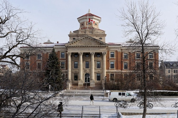 Winter view on University of Manitoba Administration Building in Winnipeg Fort Garry Neighborhood