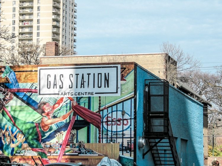 A mural outside of the Gas Station Arts Center in Winnipeg Manitoba