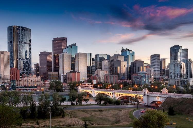 A shot of downtown Calgary, Alberta Canada as the sun sets