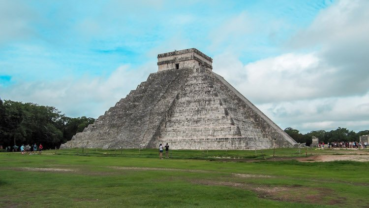 The main pyramid at Chichen Itza in Mexico on a sunny day